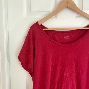{LOFT} Pink//Red Dolman Scoop neck top
